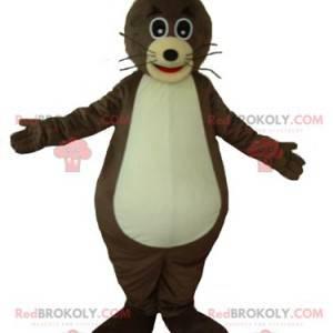 Sehr süßes und lustiges Ottermaskottchen in Braun und Beige -