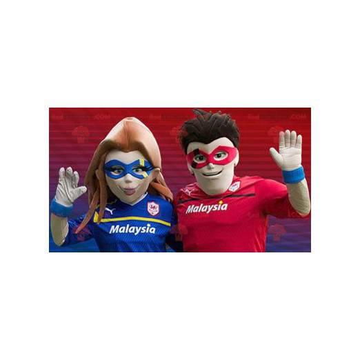 Superhero couple mascots - Redbrokoly.com