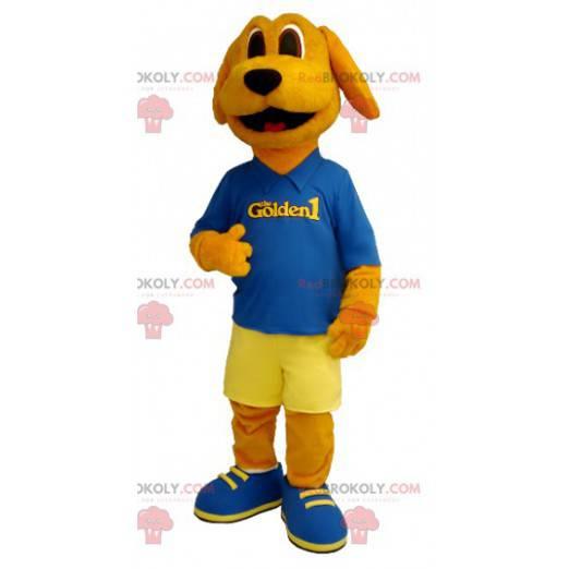 Orange dog mascot dressed in blue and yellow - Redbrokoly.com