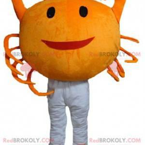 Mascotte di granchio arancione gigante e sorridente -