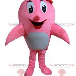 Mascotte delfino rosa e bianco balena - Redbrokoly.com
