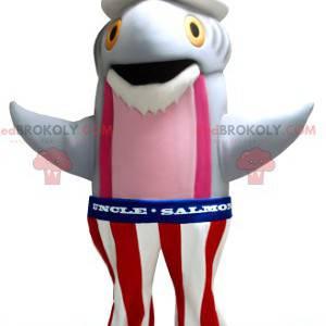 Šedý a růžový rybí losos maskot v amerických šatech -