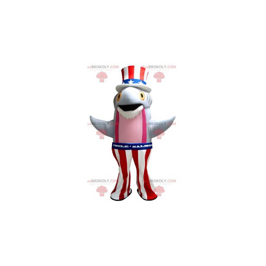 Szaro-różowa maskotka rybia łososia w amerykańskiej sukience -