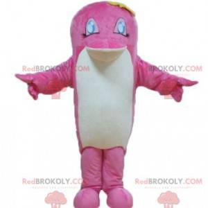 Růžový a bílý delfín ryby maskot - Redbrokoly.com