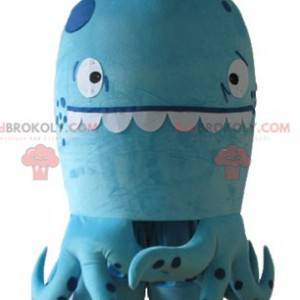 Very funny blue octopus mascot with polka dots - Redbrokoly.com