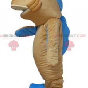 Riesenmaskottchen mit Lachsorange und blauem Fisch -