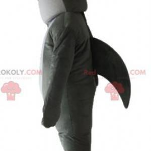 Realistický a působivý maskot šedého a bílého žraloka -