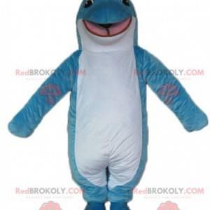 Maskottchen blauer und weißer Delphin lächelnd und originell -