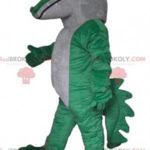 Riesiges und beeindruckendes grün-weißes Krokodilmaskottchen -