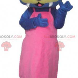 Maskot modrá a žlutá vydra s růžovými šaty - Redbrokoly.com