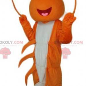 Oranje en witte rivierkreeft mascotte gigantische kreeft -