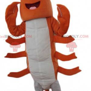Mascota de langosta gigante de cangrejo de río naranja y blanco