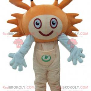 Mascote caranguejo laranja e branco muito sorridente -