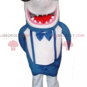 Obří a zábavný maskot žralok modrý a bílý - Redbrokoly.com