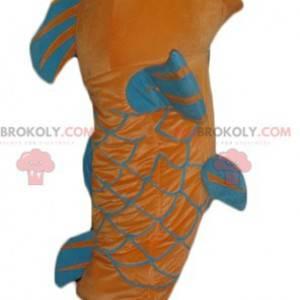 Maskot obří oranžové a modré ryby - Redbrokoly.com