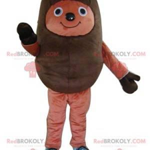 Mascotte riccio marrone bicolore molto sorridente -