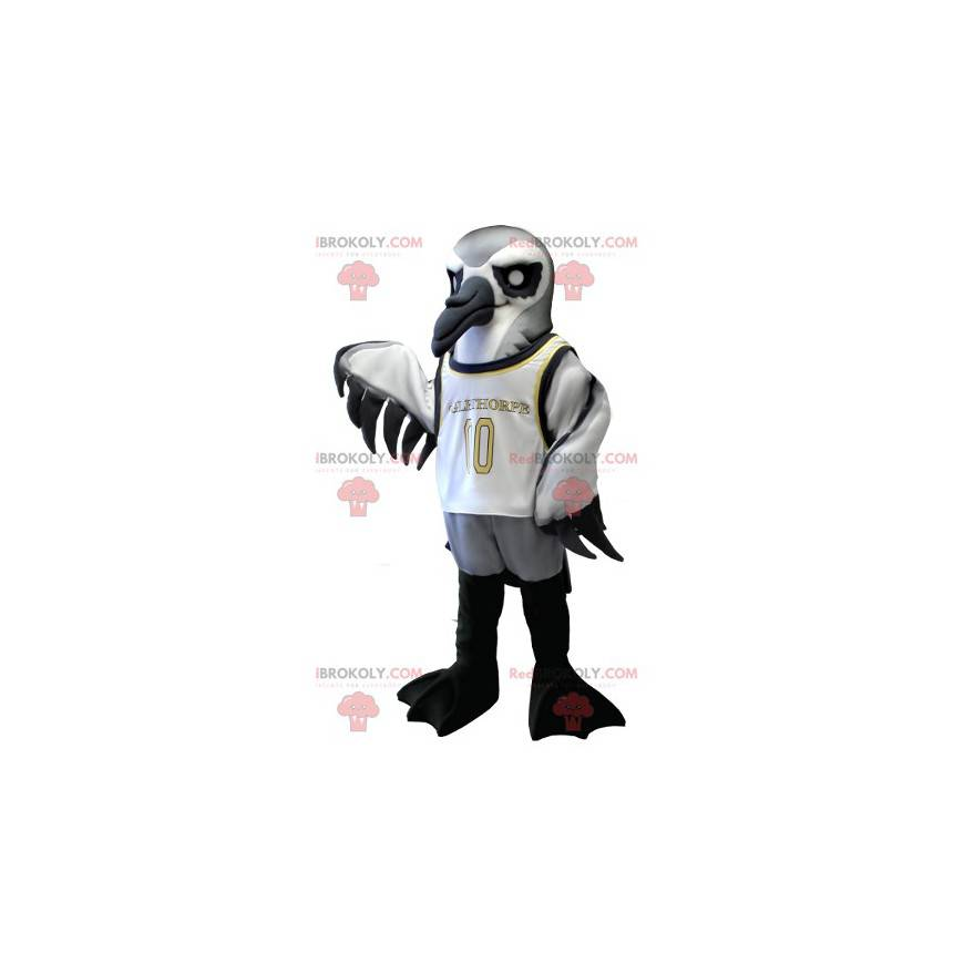 Maskot mořský pták šedá bílá a černá - Redbrokoly.com