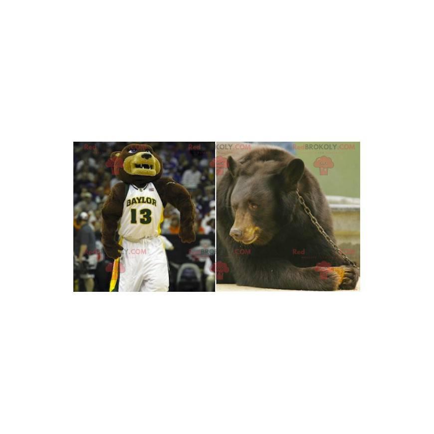 Hnědý a béžový medvěd maskot ve sportovním oblečení -