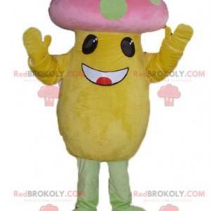 Mascot big yellow and pink mushroom with green dots -