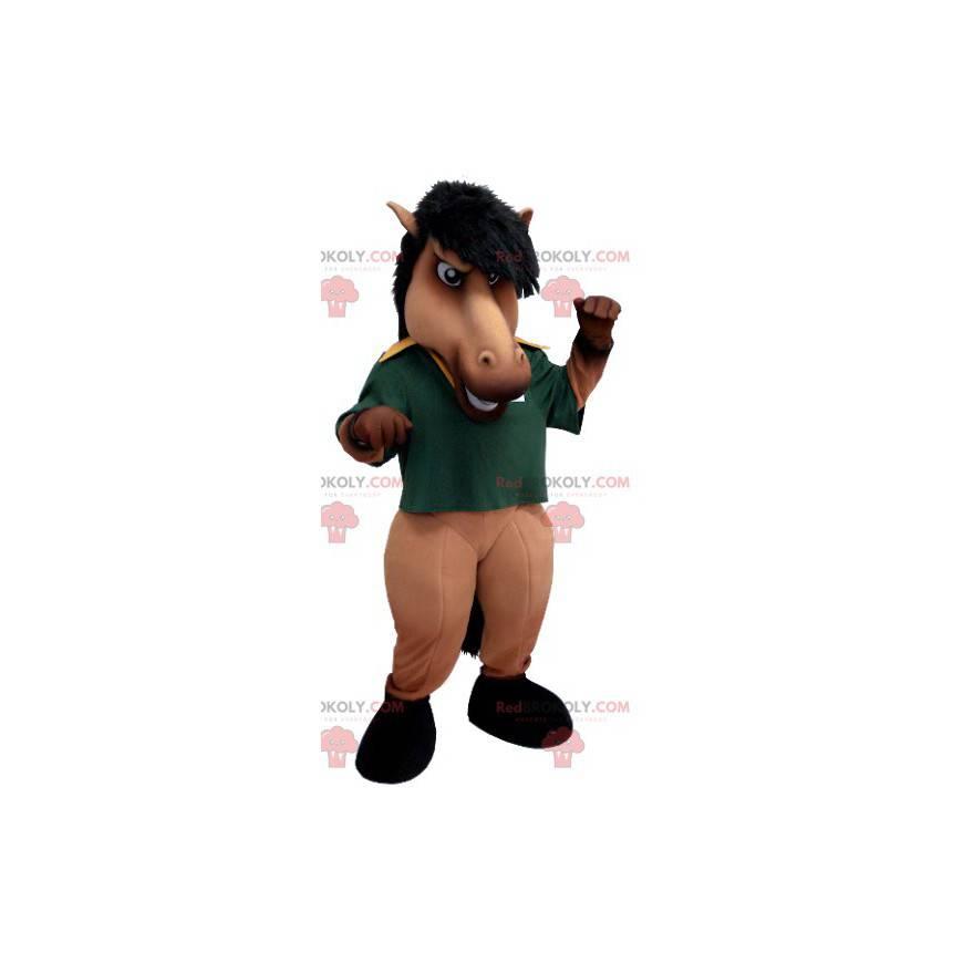 Brun og svart hestemaskot med grønn poloskjorte - Redbrokoly.com