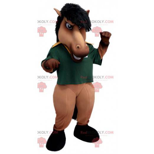 Brown and black horse mascot with a green polo shirt -