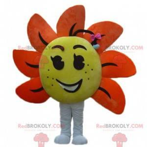 Obří žlutý a oranžový květ maskot - Redbrokoly.com