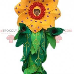 Piękny żółty i czerwony kwiat maskotka z liśćmi - Redbrokoly.com