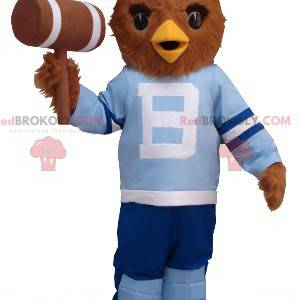 Brown owl mascot in blue outfit - Redbrokoly.com
