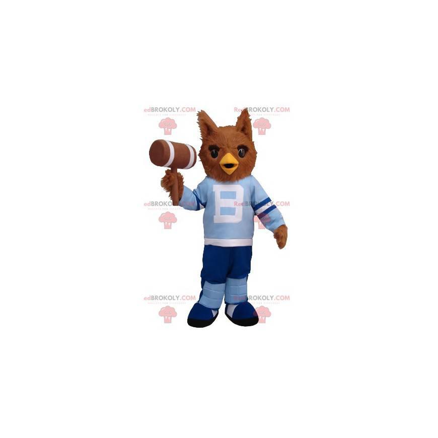 Brązowa maskotka sowa w niebieskim stroju - Redbrokoly.com