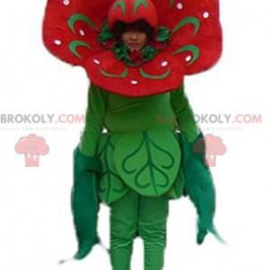 Obří tulipán červený a zelený květ maskot - Redbrokoly.com
