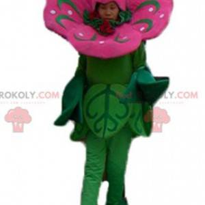 Působivý a realistický růžový a zelený květ maskot -