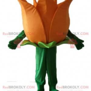 Maskottchen hübsche riesige orange und grüne Blume -