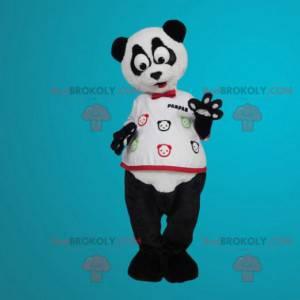 Weißes und schwarzes Panda-Maskottchen mit großen Augen -