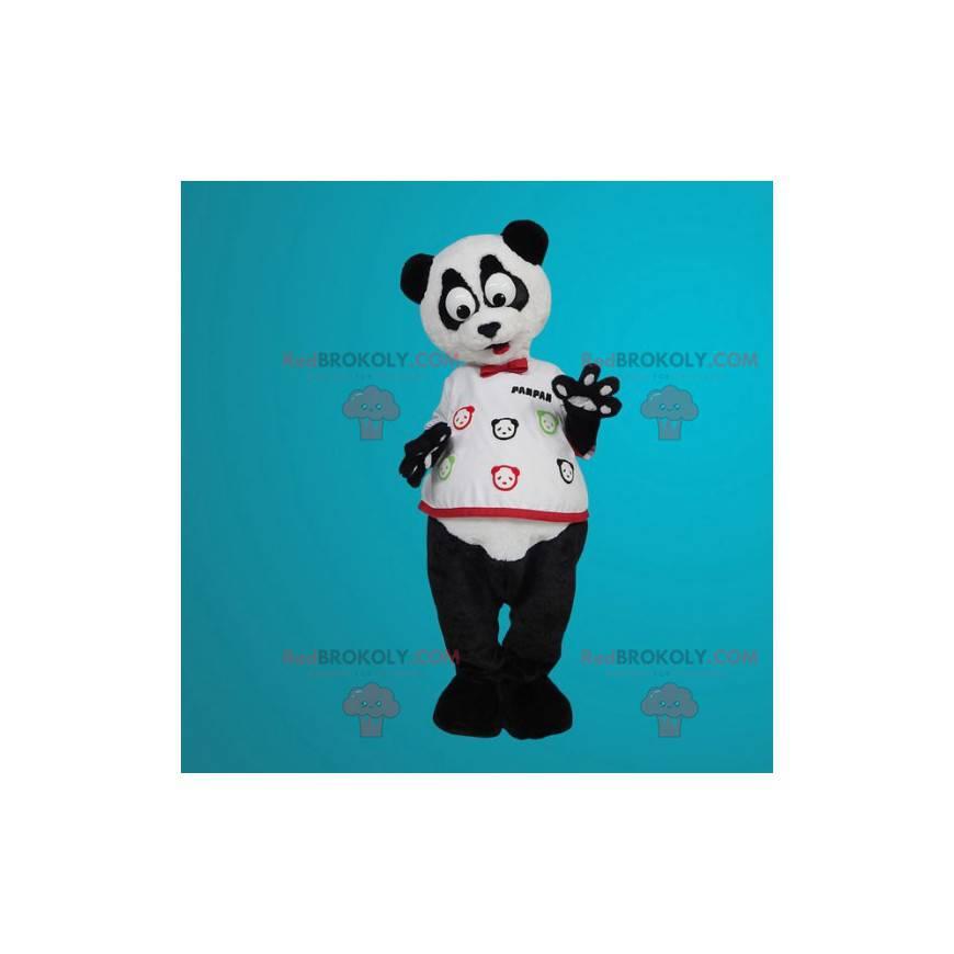 Maskot bílá a černá panda s velkýma očima - Redbrokoly.com
