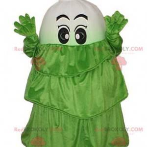 Bílý zeleninový pórek maskot se zelenými šaty - Redbrokoly.com