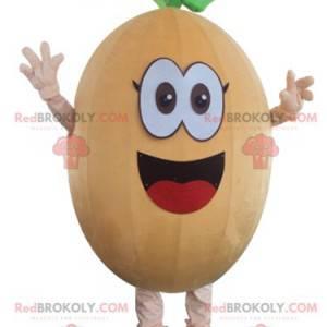 Lustiges und lächelndes Melonenkürbis-Kürbis-Maskottchen -