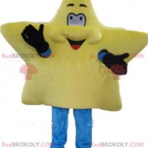 Śliczna i uśmiechnięta gigantyczna żółta gwiazda maskotka -