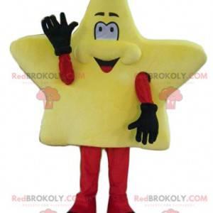 Cute and smiling giant yellow star mascot - Redbrokoly.com