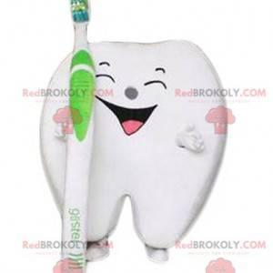 Obří smích maskot bílý zub s kartáček na zuby - Redbrokoly.com