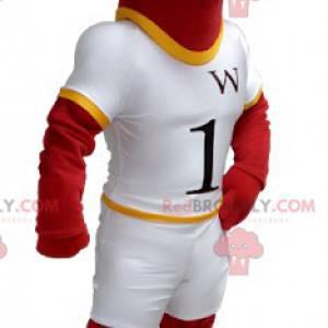 Rotes und gelbes Pferdemaskottchen im weißen Outfit -