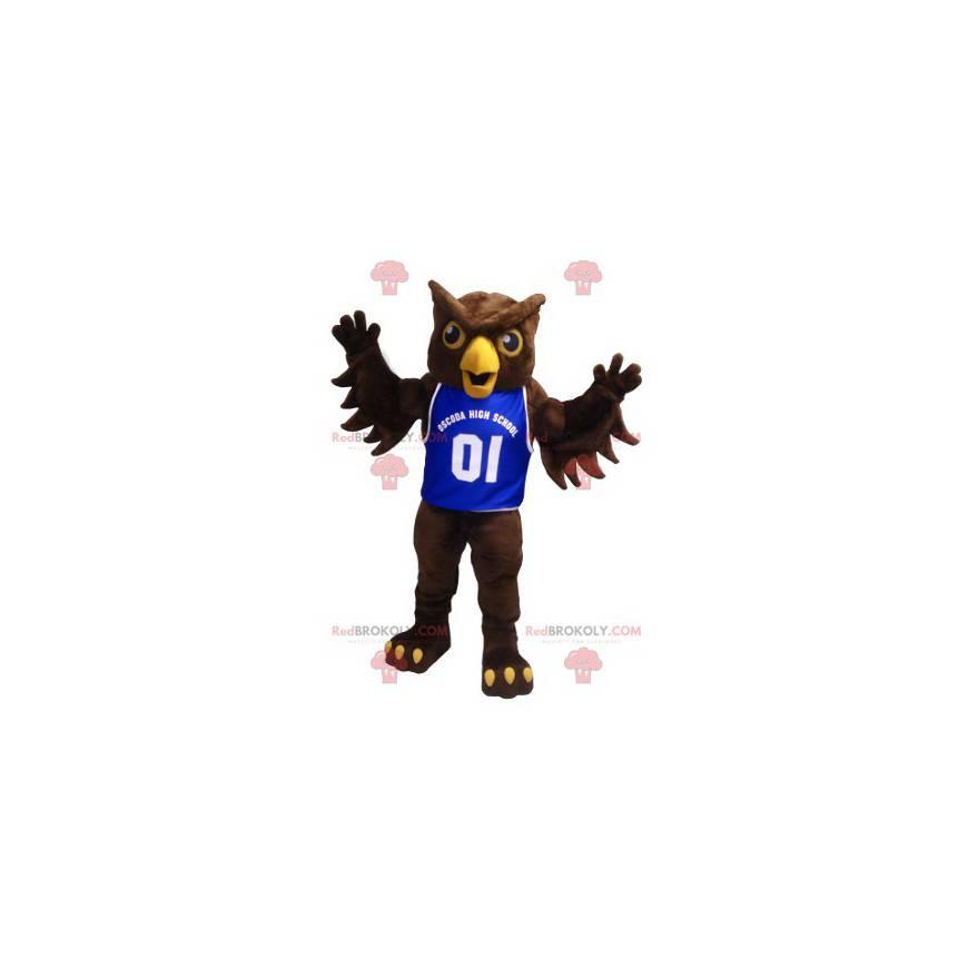 Maskot hnědá sova s modrým dresem - Redbrokoly.com