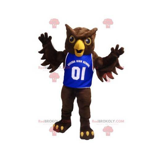 Brun uglemaskott med blå trøye - Redbrokoly.com