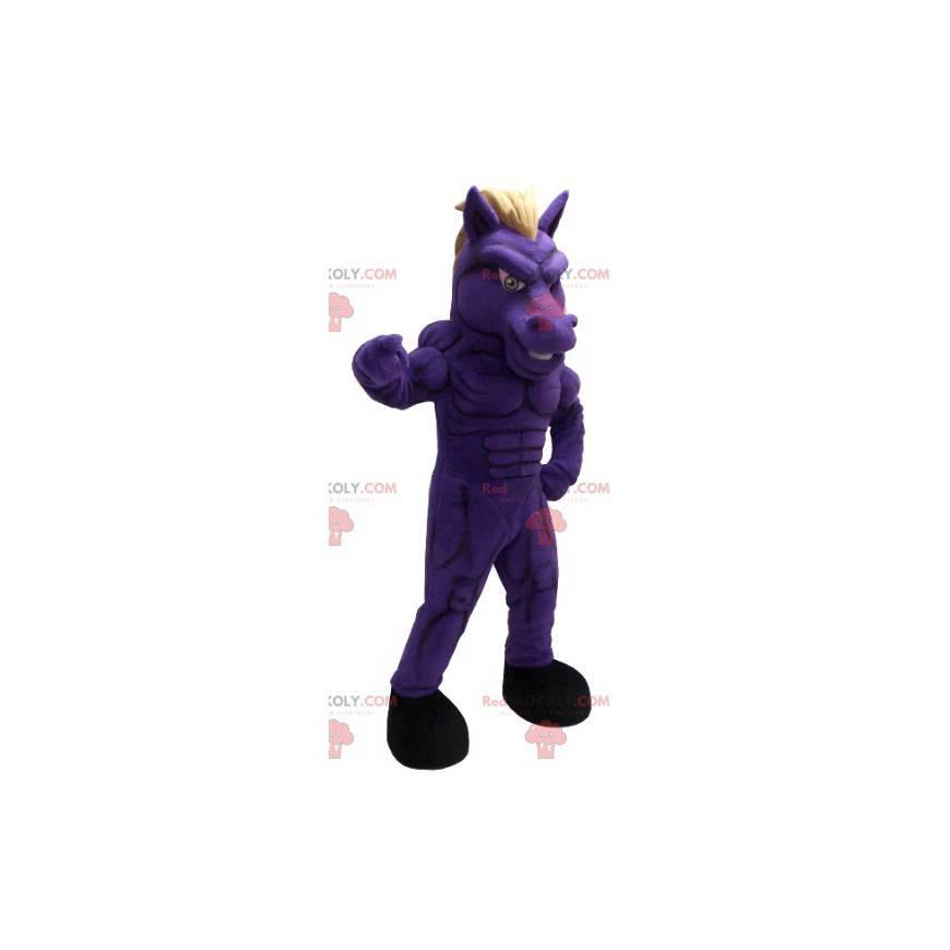 Veldig muskuløs lilla hestemaskot - Redbrokoly.com