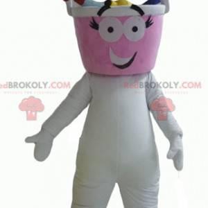 Biały bałwan maskotka z głową w kształcie wiadra -
