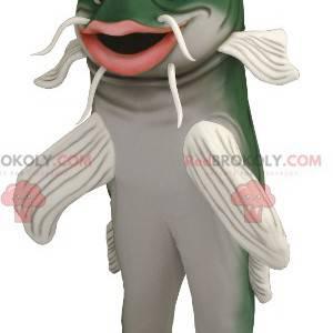 Mascotte di pesce gatto verde e bianco - Redbrokoly.com