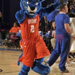 Blå panter maskot i orange sportstøj - Redbrokoly.com