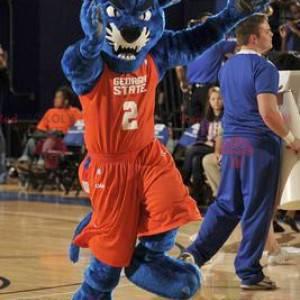 Mascotte de panthère bleue en tenue de sport orange -