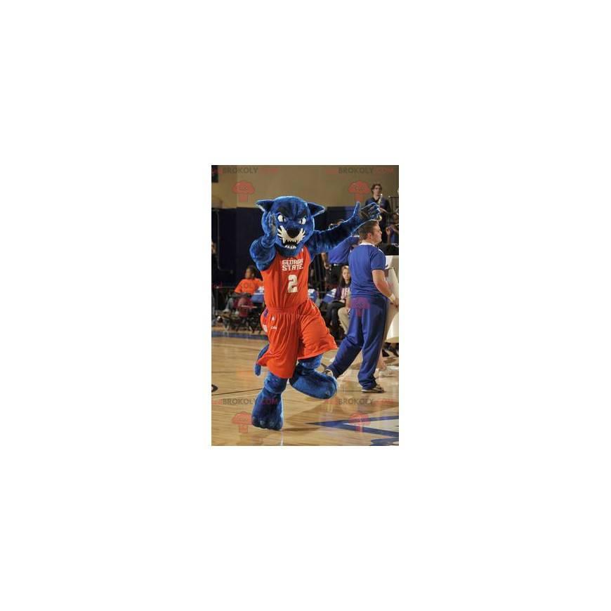 Blå panter maskot i oransje sportsklær - Redbrokoly.com