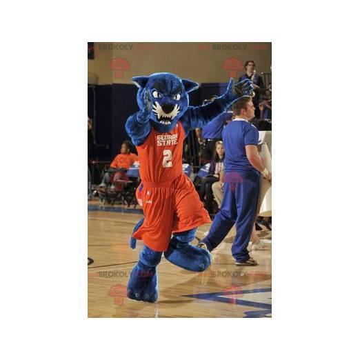 Blaues Panthermaskottchen in orange Sportbekleidung -