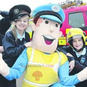 Polizeibeamtenmaskottchen in blauer und gelber Uniform -